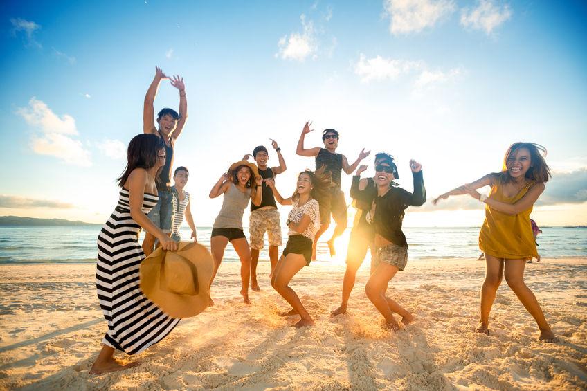 beach party in spain