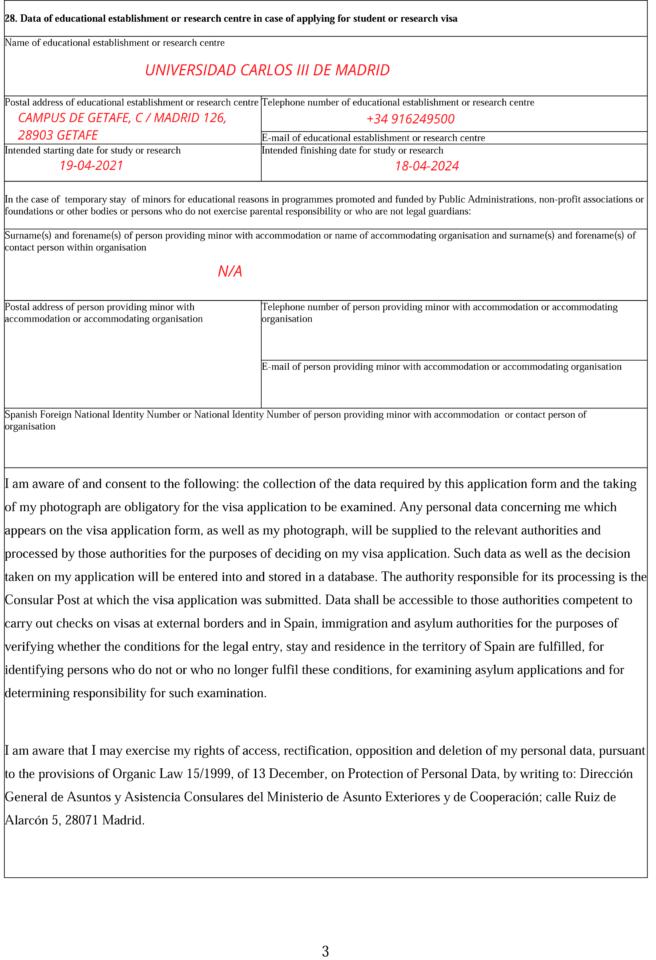 Application for National Visa Form Spain 3